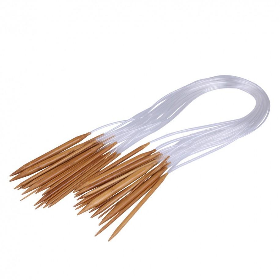 Rundstricknadeln 80cm im Set - 18 Stück aus Bambus - Bild 1