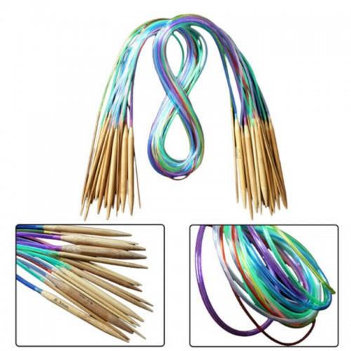 18-teiliges Set Rundstricknadeln Multicolor aus Bambus - 1